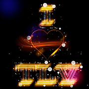 Digitally enhanced image of I love TLV (Tel Aviv, Israel) with a heart shaped graphic a neon sign text black background