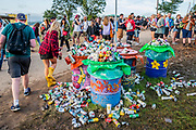 Only the first day and rubbish is already overflowing - The 2019 Glastonbury Festival, Worthy Farm. Glastonbury, 26 June 2019