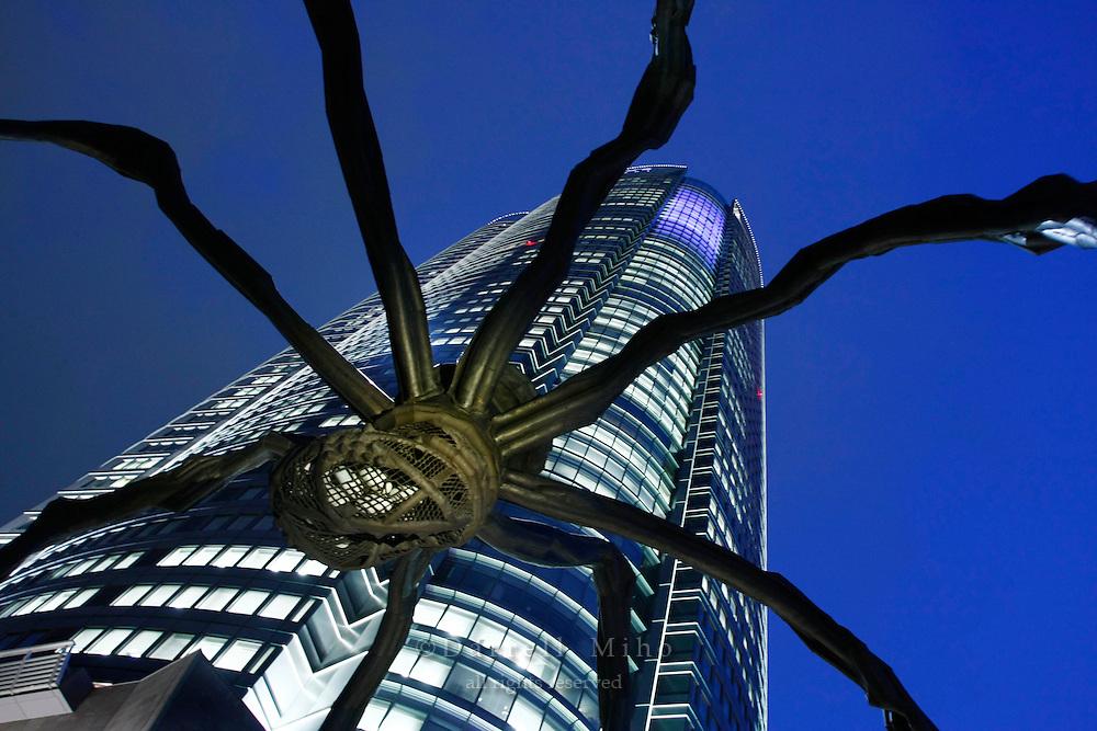 April 9, 2008; Tokyo, Japan - Spider sculpture and Mori Tower at Roppongi Hills...Photo credit: Darrell Miho