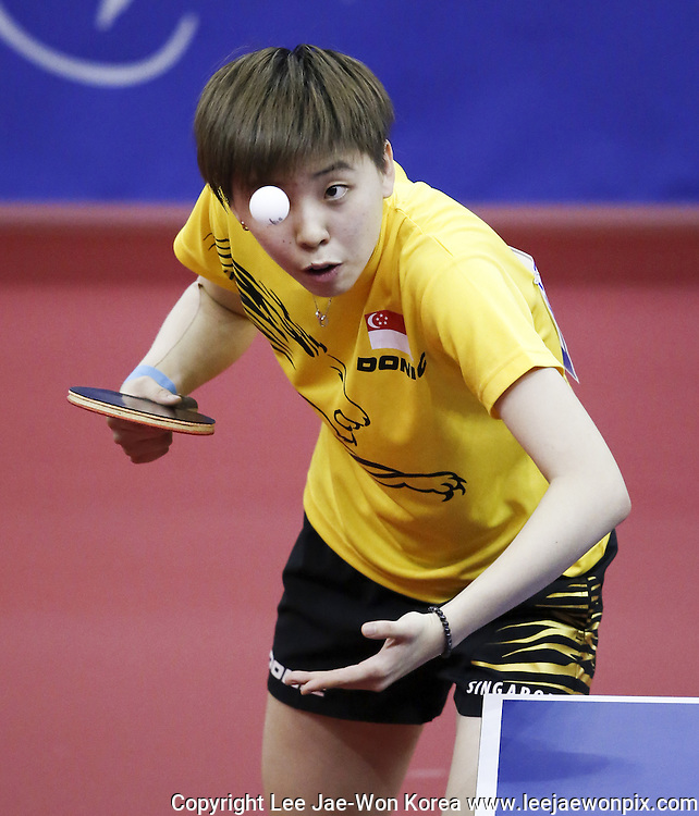 Singapore's Zhou Yihan in action during women's team semifinal 2 table tennis match against Japan at the Incheon Asian Games in Incheon, west of Seoul, September 29, 2014. Photo by Lee Jae-Won (SOUTH KOREA) www.leejaewonpix.com/