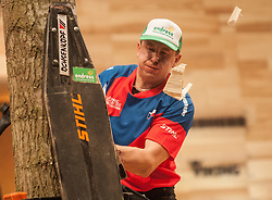 15.11.2014, Olympiaworld, Innsbruck, AUT, Stihl Timbersports WM, im Bildder Canadier Stirling Hart (CAN) // during the Stihl Timbersport World Championships at the Olympiaworld in Innsbruck on 2014/11/15, EXPA Pictures © 2014 PhotoCredit EXPA/ Jakob Gruber