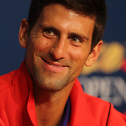 Novak Djokovic, Serbia, during a press conference at the US Open. Flushing. New York, USA. 24th August 2013. Photo Tim Clayton