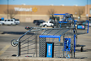 A pair of unattended shopping carts outside of the Red Bird Wal-Mart Supercenter on Thursday, January 31, 2013 in Dallas, Texas. (Cooper Neill/The Dallas Morning News)