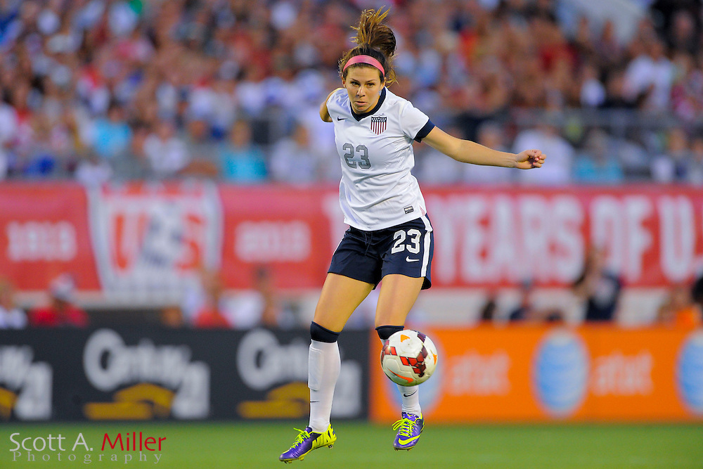 U.S. midfielder Erika Tymrak (23) in action during the United States' 4-1 win over Brazil in an international friendly at the Florida Citrus Bowl on Nov. 10, 2013 in Orlando, Florida. <br /> <br /> &copy;2013 Scott A. Miller