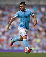 Sergio Aguero of Manchester City during the Barclays Premier League match at the Etihad Stadium, Manchester<br /> Picture by Russell Hart/Focus Images Ltd 07791 688 420<br /> 08/05/2016