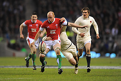 Martyn Williams (Wales) finds his progress halted by an excellent tackled by Matthew Tait (England) during the RBS 6 Nations Championship match between England and Wales at Twickenham Stadium on February 6, 2010 in London, England.