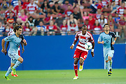 FRISCO, TX - JUNE 22:  Jackson #6 of FC Dallas breaks away from the Sporting Kansas City defense on June 22, 2013 at FC Dallas Stadium in Frisco, Texas.  (Photo by Cooper Neill/Getty Images) *** Local Caption *** Jackson