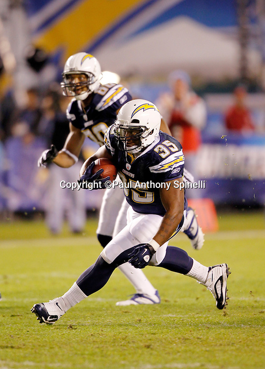 San Diego Chargers fullback Mike Tolbert (35) runs for a first quarter first down during the NFL week 11 football game against the Denver Broncos on Monday, November 22, 2010 in San Diego, California. The Chargers won the game 35-14. (©Paul Anthony Spinelli)