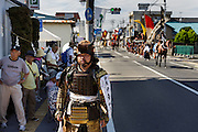 Minami-Soma, Fukushima prefecture, July 25 2015 - Kazuhiko ITO and other samurai are ready for the parade.<br /> The Soma nomaoi is said to be a 1000-year-old traditional festival. It was held in 2011, a few months after the nuclear disaster, but only a few local horses were available.
