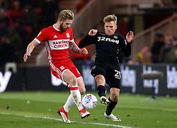 Samu Saiz of Leeds United takes on Adam Clayton of Middlesbrough - Mandatory by-line: Robbie Stephenson/JMP - 02/03/2018 - FOOTBALL - Riverside Stadium - Middlesbrough, England - Middlesbrough v Leeds United - Sky Bet Championship