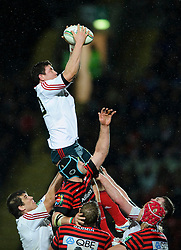 Munster replacement (#20) Paddy Butler wins a lineout during the second half of the match - Photo mandatory by-line: Rogan Thomson/JMP - Tel: Mobile: 07966 386802 16/12/2012 - SPORT - RUGBY - Vicarage Road - Watford. Saracens v Munster Rugby - Heineken Cup Round 4.