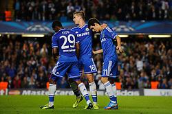 Chelsea Midfielder Oscar (BRA) celebrates scoring a goal during the first half of the match - Photo mandatory by-line: Rogan Thomson/JMP - Tel: 07966 386802 - 18/09/2013 - SPORT - FOOTBALL - Stamford Bridge, London - Chelsea v FC Basel - UEFA Champions League Group E