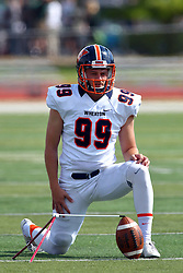 01 October 2016:  Daniel Gray during an NCAA division 3 football game between the Wheaton Thunder and the Illinois Wesleyan Titans in Tucci Stadium on Wilder Field, Bloomington IL (Photo by Alan Look)