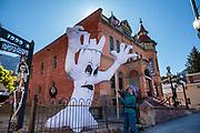 An inflatable ghost in Ouray, San Juan Mountains, Colorado, USA.