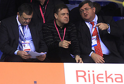 President of PZS Jure Prosen, mayor of Ljubljana Zoran Jankovic and mayor of Rijeka Vojko Obersnel at 4th day of  LEN European Short Course Swimming Championships Rijeka 2008, on December 14, 2008,  in Kantrida pool, Rijeka, Croatia. (Photo by Vid Ponikvar / Sportida)