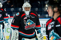 KELOWNA, CANADA - SEPTEMBER 22: James Porter #1 of the Kelowna Rockets stands on the ice during warm up against the Kamloops Blazers on September 22, 2018 at Prospera Place in Kelowna, British Columbia, Canada.  (Photo by Marissa Baecker/Shoot the Breeze)  *** Local Caption ***