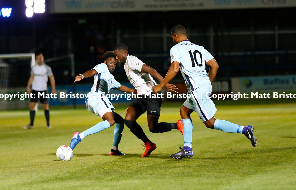 SEPTEMBER 12:  Top of the table Dover Athletic FChost eighth place Boreham Wood FC in Conference Premier at Crabble Stadium in Dover, England. The visitors, Boreham Wood  ran out winners a goal to nothing. Dover's defender Manny Parry makes a surge forward. (Photo by Matt Bristow/mattbristow.net)