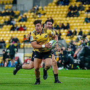 Ricky Riccitelli runs   during the Super rugby (Round 12) match played between Hurricanes  v Lions, at Westpac Stadium, Wellington, New Zealand, on 5 May 2018.  Hurricanes won 28-19.