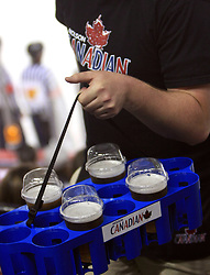 A guy sells beer at ice-hockey game Slovenia vs Slovakia at Relegation  Round (group G) of IIHF WC 2008 in Halifax, on May 09, 2008 in Metro Center, Halifax, Nova Scotia, Canada. Slovakia won 5:1. (Photo by Vid Ponikvar / Sportal Images)