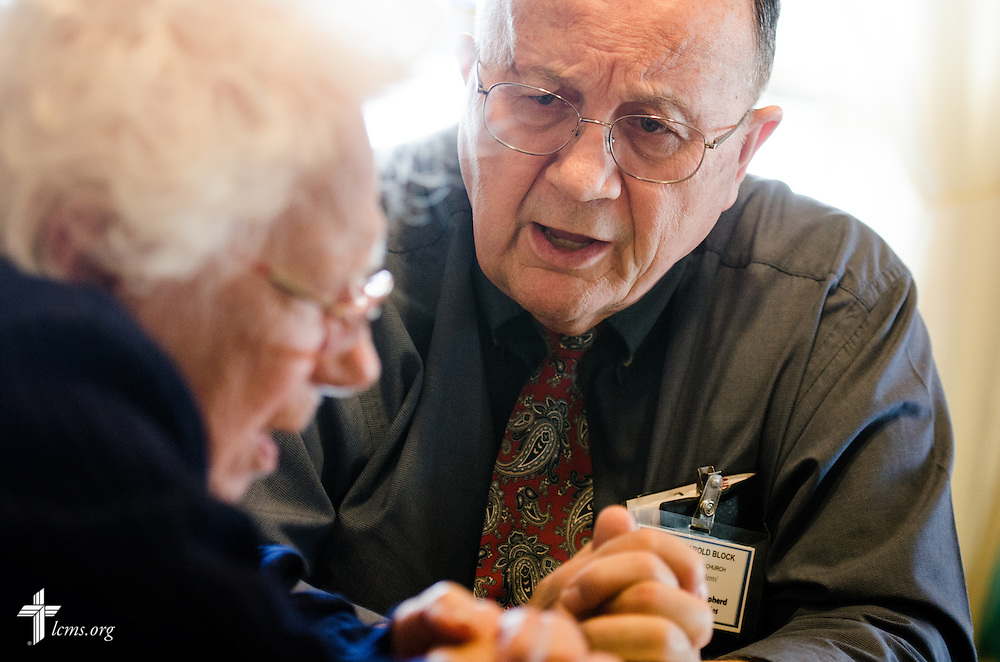 The Rev. Harold Block, visitation pastor at St. Paul's Lutheran Church, visits a 103 year-old church member outside Concordia, Mo., on Thursday, April 10, 2014. LCMS Communications/Erik M. Lunsford