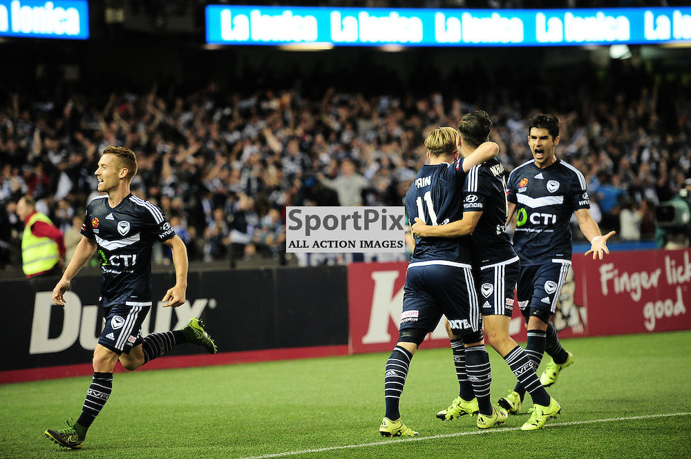 """Besart Berisha of Melbourne Victory celebrates his winning goal in the Hyundai A-League - October 17th 2015 - ROUND 2- Melbourne Victory FC v Melbourne City FC in the first derby for the 2015 season with a 3:2 win to Victory on the 90"""" - © Mark Avellino 