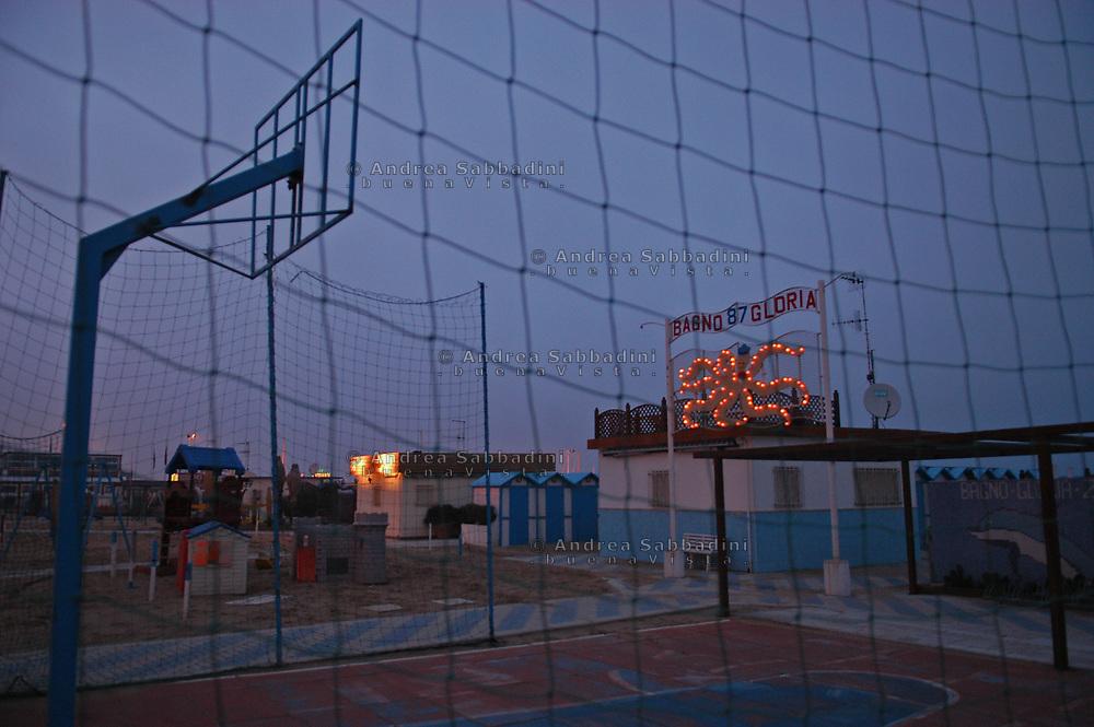 Riccione, 05/02/2006: stabilimento balneare - seaside resort.<br /> &copy; Andrea Sabbadini
