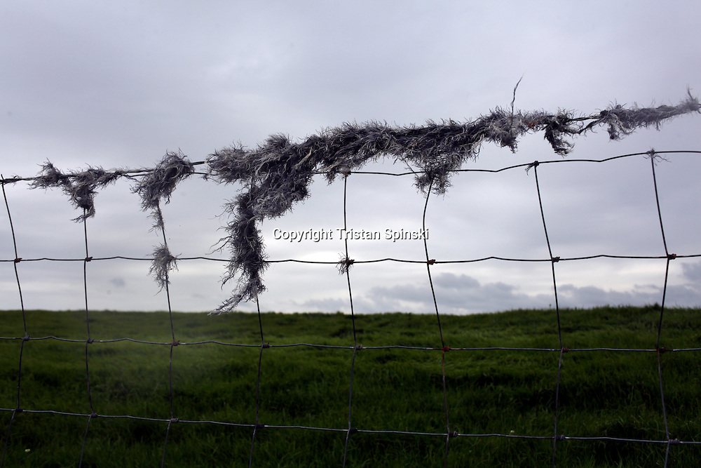 A view of a barbed wire fence near the Cliffs of Moher on the west coast of Ireland.