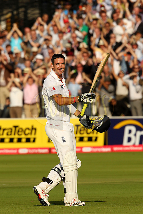 Kevin Pietersen celebrates his double century during day 2 of the first test between England and India (The 100th test match between the two countries and the 2000th test match in the history of cricket) held at Lords Cricket ground in London on the 22nd July 2011...Photo by Ron Gaunt/SPORTZPICS/BCCI
