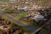 Aerial view of Ohio University and the Hocking River. © Ohio University