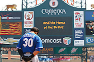 Apr 10, 2011; Detroit, MI, USA; Kansas City Royals first baseman Kila Ka'aihue (30) during the National Anthem before the game against the Detroit Tigers at Comerica Park.  Kansas City won 9-5.