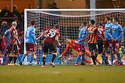 Bradford City defender Anthony McMahon (29) free kick goes narrowly wide during the EFL Sky Bet League 1 match between Bradford City and Scunthorpe United at the Coral Windows Stadium, Bradford, England on 26 December 2016. Photo by Simon Davies.