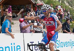 Winner Radoslav Rogina (CRO) of Adria Mobil at Vrsic  during Stage 3 from Skofja Loka to Vrsic (170 km) of cycling race 20th Tour de Slovenie 2013,  on June 15, 2013 in Slovenia. (Photo By Vid Ponikvar / Sportida)
