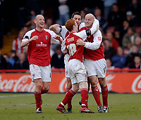 Photo: Glyn Thomas.<br />Rotherham United v Brentford. Coca Cola League 1. 15/04/2006.<br />Rotherham's Paul Shaw (R) celebrates after scoring his side's second goal.