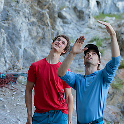 Adam Ondra and Sonnie Trotter discussing Fight Club at Raven's Crag in Banff, Alberta, Canada