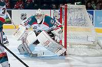 KELOWNA, CANADA -FEBRUARY 19: Jordon Cooke #30 of the Kelowna Rockets defends the net against the Tri City Americans on February 19, 2014 at Prospera Place in Kelowna, British Columbia, Canada.   (Photo by Marissa Baecker/Getty Images)  *** Local Caption *** Jordon Cooke;