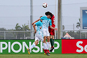 Slovenia defender Peter Ceferin (3) and Portugal defender Francisco Silva (5) go up for a header during a CONCACAF boys under-15 championship soccer game, Sunday, August 11, 2019, in Bradenton, Fla. Portugal defeated Slovenia in the final in 2-0. (Kim Hukari/Image of Sport)