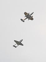 Gloster Meteor T7 WA591; De Havilland Vampire XJ771, Farnborough International Airshow, Farnborough Airport UK, 18 July 2014, Photo by Richard Goldschmidt