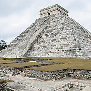 Pyramid of Temple of Kukulkan (El Castillo) at Chichen Itza Archeological Zone, ruins of a major Maya civilization city in the heart of Mexico's Yucatan Peninsula.