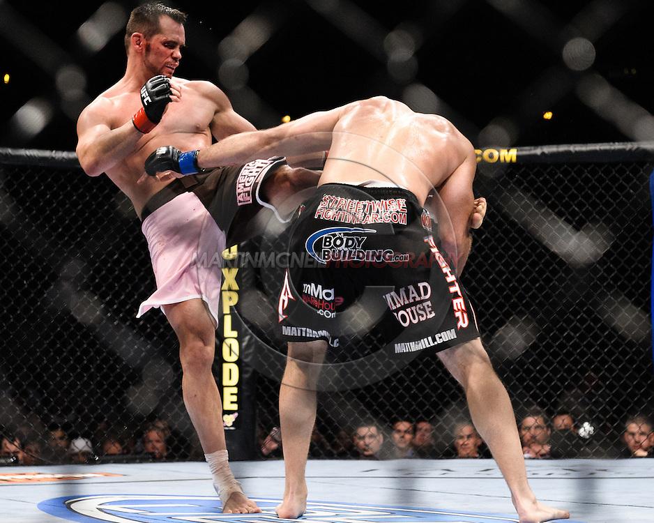 """ATLANTA, GEORGIA, SEPTEMBER 6, 2008: Rich Franklin (left) kicks Matt Hamill during """"UFC 88: Breakthrough"""" inside Philips Arena in Atlanta, Georgia on September 6, 2008"""