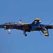 The lead solos for the U.S. Navy Blue Angels perform the Fortus maneuver, a mirrored carrier landing configuration with wheels and tailhooks down, at the 2010 airshow at Andrews Air Base in Maryland just outside Washington, DC