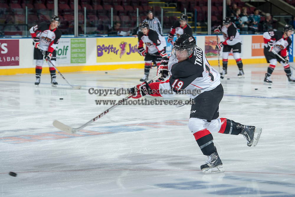 KELOWNA, CANADA - OCTOBER 19: Jordan Tkatch #19 of the Prince George Cougars warms up against the Kelowna Rockets on October 19, 2013 at Prospera Place in Kelowna, British Columbia, Canada.   (Photo by Marissa Baecker/Shoot the Breeze)  ***  Local Caption  ***