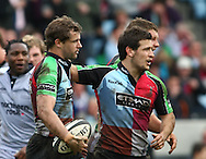London - Saturday April 3rd, 2010: Danny Care (R) congratulates Nick Evans (L) on his 1st try for Harlequins during the Guinness Premiership match between Harlequins and Newcastle at the Twickenham Stoop, London. (Pic by Andrew Tobin/Focus Images)