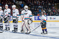 KELOWNA, CANADA - FEBRUARY 6: Michael Herringer #30 of Kelowna Rockets lines up with the Pepsi Player against the Calgary Hitmen on February 6, 2016 at Prospera Place in Kelowna, British Columbia, Canada.  (Photo by Marissa Baecker/Shoot the Breeze)  *** Local Caption *** Michael Herringer; Pepsi Player;