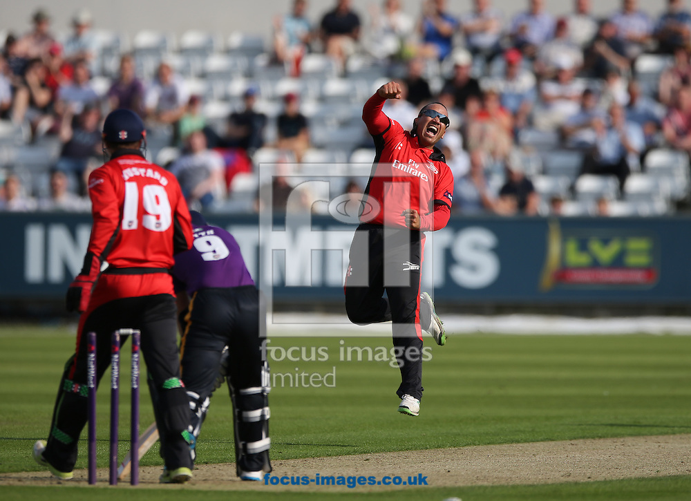 Gareth Breese (r) of Durham Jets celebrates getting the wicket Adam Lyth of Yorkshire Vikings during the Natwest T20 Blast match at Emirates Durham ICG, Chester-le-Street<br /> Picture by Simon Moore/Focus Images Ltd 07807 671782<br /> 11/07/2014