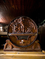 A 63,000-liter antique French cask stands on display at the Bodega Escorihuela in the Godoy Cruz neighborhood of Mendoza, Argentina.