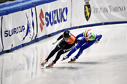 February 9, 2019 - Torino, Italia - Foto LaPresse/Nicolò Campo .9/02/2019 Torino (Italia) .Sport.ISU World Cup Short Track Torino - Ladies 500 meters Semifinals .Nella foto: Lara van Ruijven, Martina Valcepina..Photo LaPresse/Nicolò Campo .February 9, 2019 Turin (Italy) .Sport.ISU World Cup Short Track Turin - Ladies 500 meters Semifinals.In the picture: Lara van Ruijven, Martina Valcepina (Credit Image: © Nicolò Campo/Lapresse via ZUMA Press)