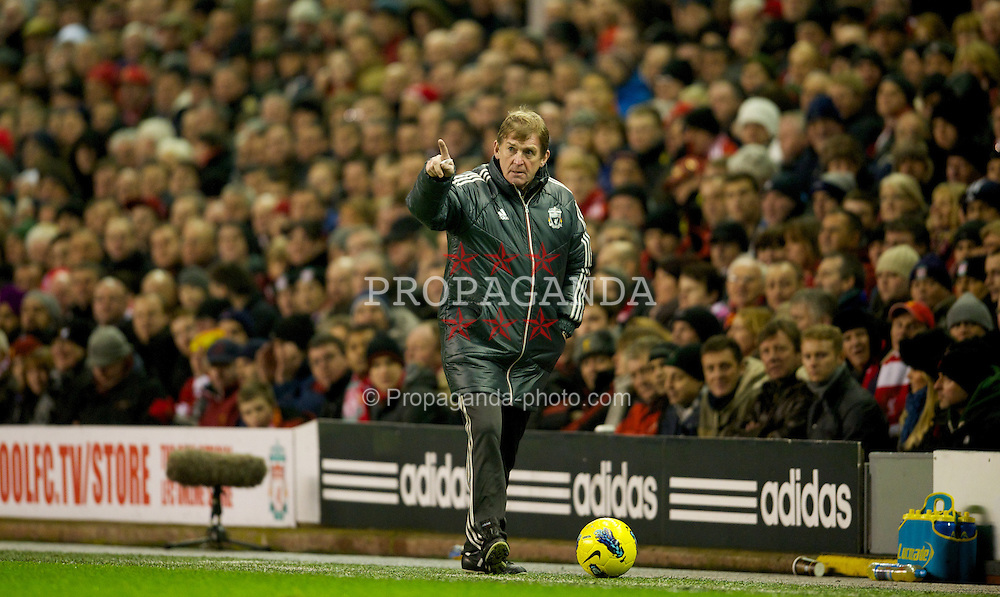 LIVERPOOL, ENGLAND - Monday, February 6, 2012: Liverpool's manager Kenny Dalglish during the Premiership match against Tottenham Hotspur at Anfield. (Pic by David Rawcliffe/Propaganda)