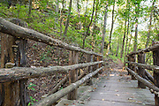 View of the trail at Blowing Springs on Wednesday, Oct. 1, 2014, in Bella Vista, Ark. The trail offers 6.3 miles of natural-surface trails for walking or mountain biking. Photo by Beth Hall
