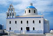 Greek Orthodox Church in Oia village, Santorini Island, Greece, Europe.
