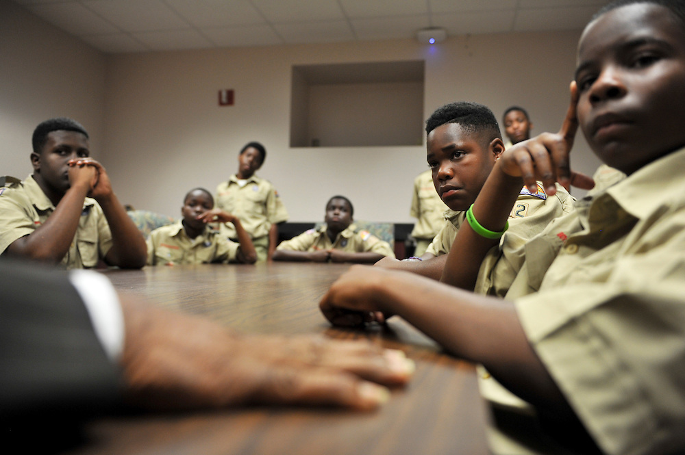 Members of Boy Scout Troop 772 of Fort Pierce listen to State Rep. Larry Lee Jr., D-Fort Pierce, as he shares advice during a visit to the Florida Capitol in Tallahassee on April 3, 2014. (XAVIER MASCAREÑAS/TREASURE COAST NEWSPAPERS)